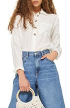 Women's Topshop Lightweight Button Shirt Us (fits Like 0) - Ivory
