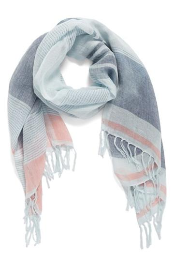 Women's Caslon Stripe Linen Blend Scarf, Size - Blue