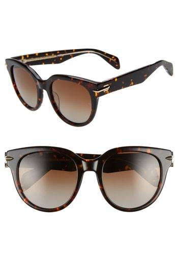Women's Rag & Bone 54mm Cat Eye Sunglasses - Havana/ Crystal