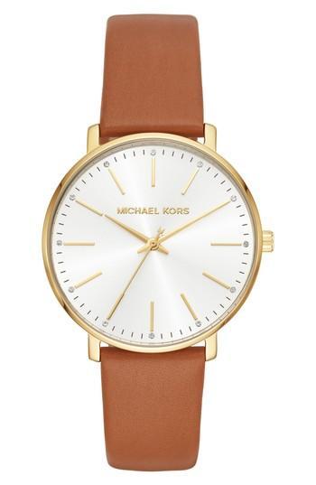 Women's Michael Kors Pyper Leather Strap Watch, 38mm