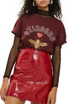 Women's Topshop Stingers Embellished Tee Us (fits Like 0) - Burgundy