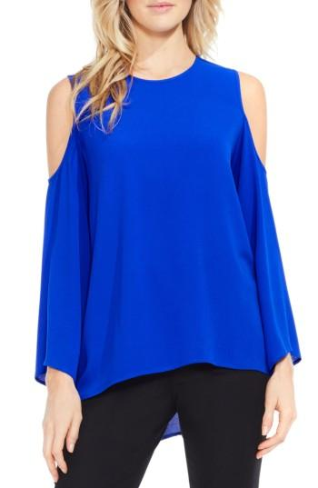 Petite Women's Vince Camuto Bell Sleeve Cold Shoulder Blouse, Size P - Blue
