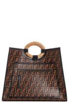 Fendi Runaway Logo Leather Shopper - Brown