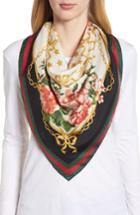 Women's Gucci Rose Chain Foulard Silk Twill Scarf, Size - Ivory