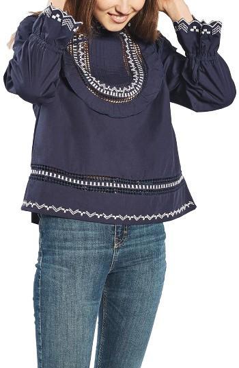 Petite Women's Topshop Embroidered Ruffle Bib Blouse