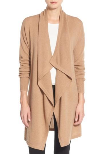 Petite Women's Halogen Cashmere Long Drape Front Cardigan P - Brown