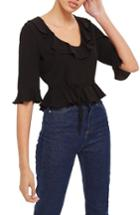 Women's Topshop Phoebe Frilly Blouse Us (fits Like 0) - Black