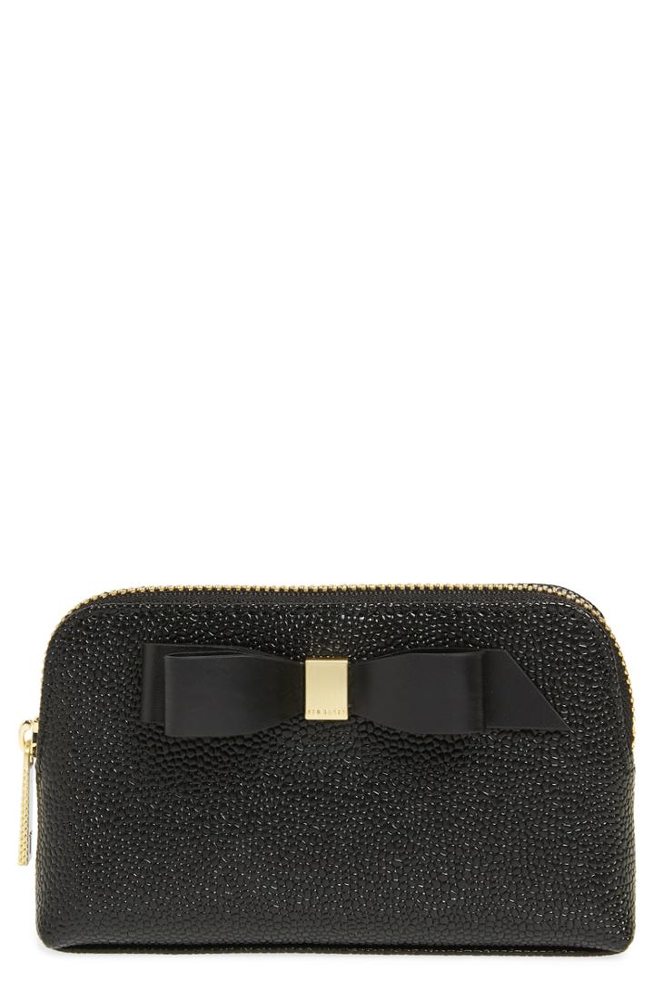 Ted Baker London Emmahh Bow Small Leather Cosmetics Case, Size - Black