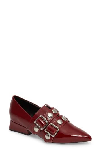 Women's Jeffrey Campbell Manford Buckle Strap Loafer M - Burgundy