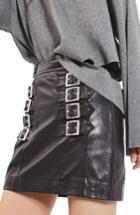 Women's Topshop Buckle Detail Leather Miniskirt
