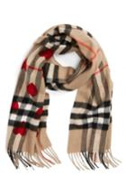 Women's Burberry Heart & Giant Check Fringed Cashmere Scarf, Size - Pink