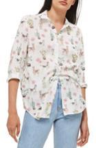 Women's Topshop Llama Print Shirt Us (fits Like 0) - Ivory