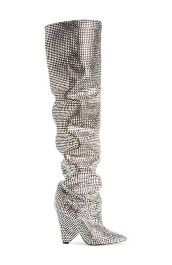 Women's Saint Laurent Niki Crystal Embellished Boot Us / 37eu - Metallic