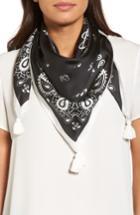 Women's Rebecca Minkoff Tossed Florette Square Silk Scarf, Size - Black