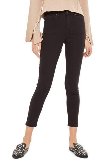 Women's Topshop Jamie High Waist Ankle Grazer Skinny Jeans W X 32l (fits Like 33-34w) - Black