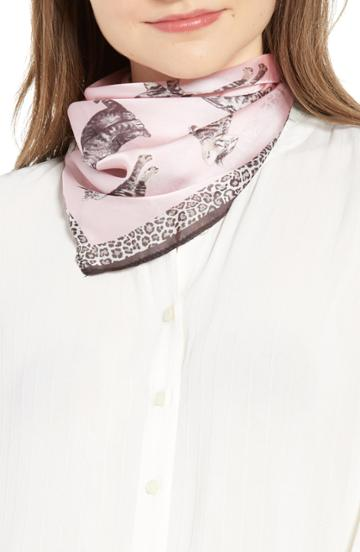 Women's Trouve Print Square Scarf, Size - Pink