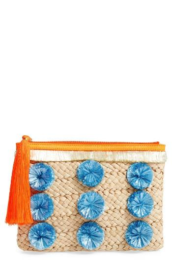 Milly Pompom Straw Clutch -