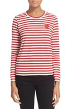 Women's Comme Des Garcons Play Stripe Cotton Tee - Red