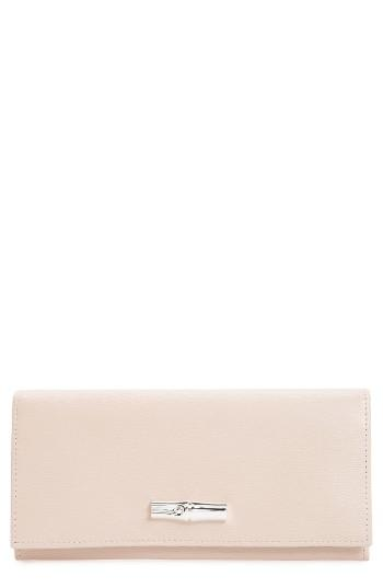 Women's Longchamp Roseau Leather Continental Wallet - Ivory