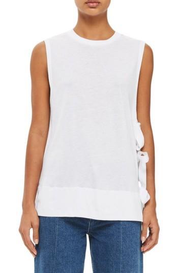 Women's Topshop Boutique Tie Side Tank Us (fits Like 0) - White