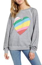 Women's Wildfox Sommers Love Hearts Sweatshirt - Grey