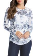 Women's Karen Kane Metallic Floral Tee - White