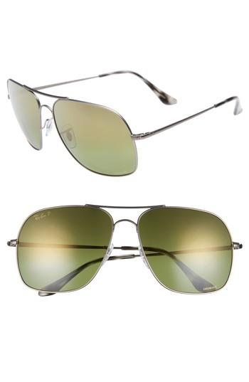 b91d140af3 Men s Ray-ban Chromance 61mm Double Bridge Aviator Sunglasses - Gunmetal   Green