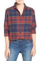 Women's Madewell Ex-boyfriend Shrunken Flannel Boyfriend Shirt, Size - Pink