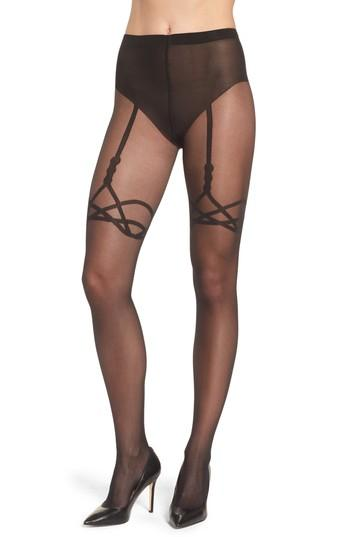 Women's Wolford Katy Suspender Tights - Black