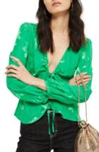 Women's Topshop Floral Jacquard Blouse Us (fits Like 0) - Green