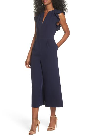 Women's Vince Camuto Ruffle Wide Leg Crop Jumpsuit - Blue