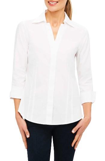 Petite Women's Foxcroft Fitted Three Quarter Sleeve Shirt P - White
