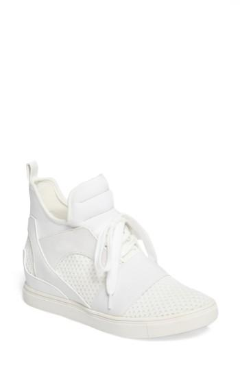 Women's Steve Madden Lexie Wedge Sneaker .5 M - White