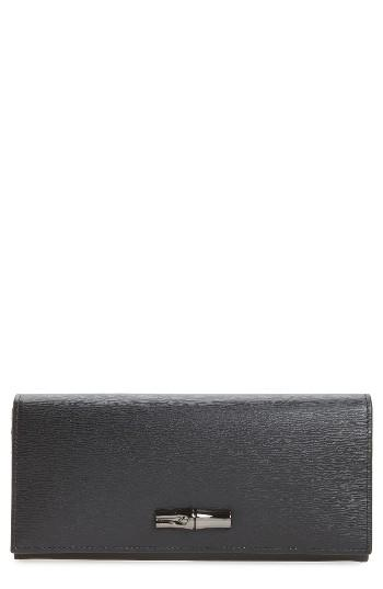Women's Longchamp Roseau Leather Continental Wallet - Black