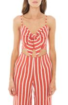 Women's Faithfull The Brand De Fiori Stripe Linen Crop Top - Orange