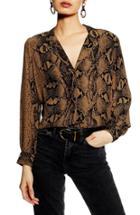 Petite Women's Topshop Jessica Snakeskin Print Blouse P Us (fits Like 00p) - Brown