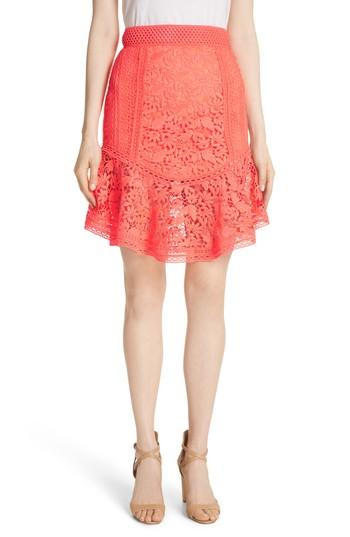Women's Alice + Olivia Eriko Curved Hem Fit & Flare Skirt