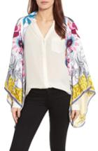 Women's Ted Baker London Passion Flower Silk Cape, Size - Ivory