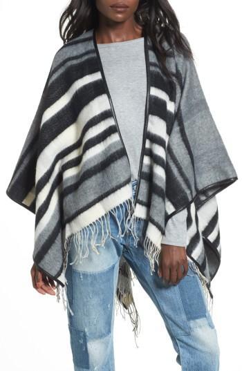 Women's Accessory Collective Stripe Ruana, Size - Black