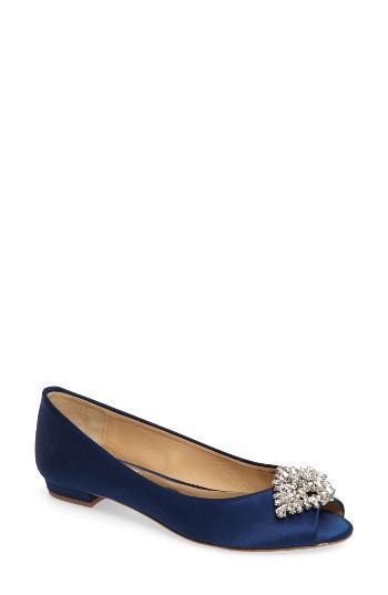 Women's Badgley Mischka Taft Peep Toe Flat M - Blue