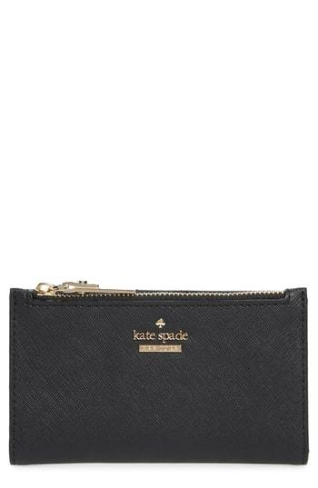 Women's Kate Spade New York Cameron Street - Mikey Crosshatched Leather Wallet - Black