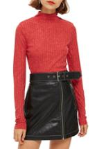 Women's Topshop Funnel Neck Shirt Us (fits Like 0) - Red