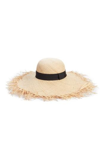 Women's Bp. Raw Edge Floppy Straw Hat - Beige