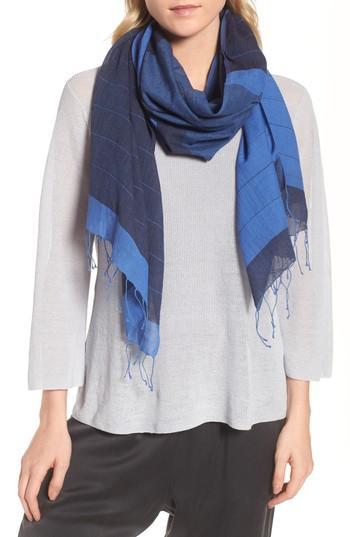 Women's Eileen Fisher Colorblock Organic Cotton Scarf, Size - Blue