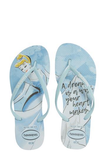 Women's Havaiana Slim - Disney Princess Flip Flop /38 Br - Blue