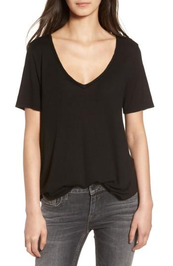 Women's Bp. Raw Edge V-neck Tee - Black