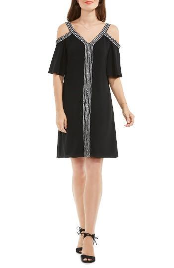 Petite Women's Vince Camuto Cold Shoulder Shift Dress P - Black