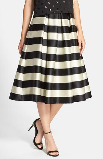 Women's Eliza J Pleated Stripe Midi Skirt