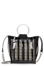 Violet Ray New York Perforated Faux Leather Bag With Faux Fur Pouch - Black