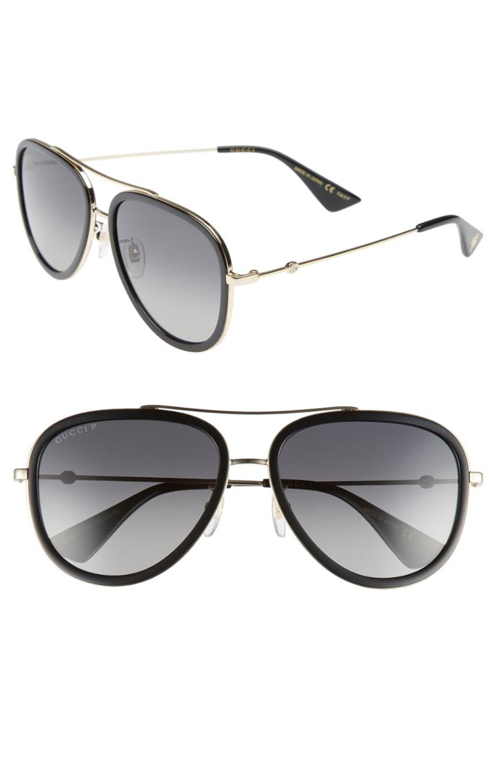 Men's Gucci Web Block Pilot 57mm Polarized Aviator Sunglasses -